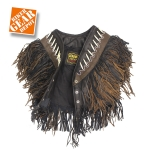 Women's Motorcycle/Biker Brown and Black,Double-Fringed, Boned, & Beaded VEST and CHAPS