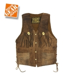 MEN BROWN LEATHER FRINGED VEST by BGD