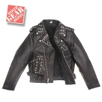 Men's Black TOP GRADE Leather Motorcycle Biker Jacket by BGD