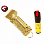 Cheetah Pepper Spray Gold SnakePattern Faux Leather Pouch For Self Defence