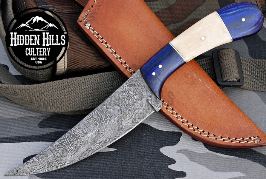 Ahtahkoop Damascus Hunting Knife By Hidden Hills Cutlery