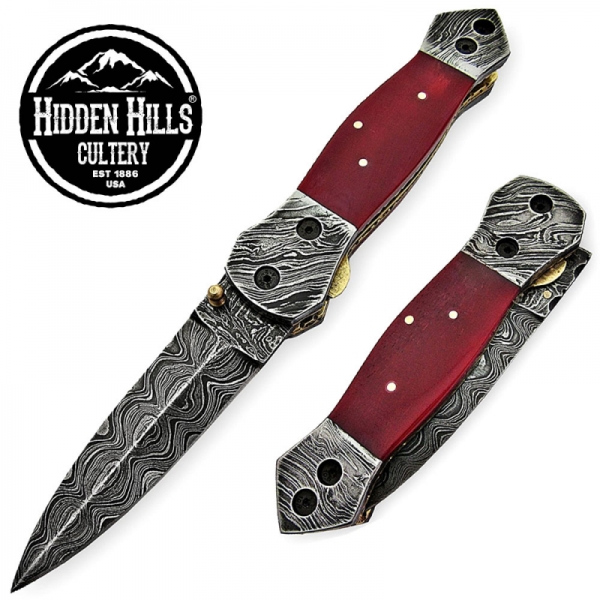 Abeytu Damascus Steel Blade Folding Knife by HHC
