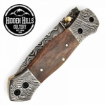 Adahy Spirit Damascus Blade Double Bolsters Folding Knife by HHC