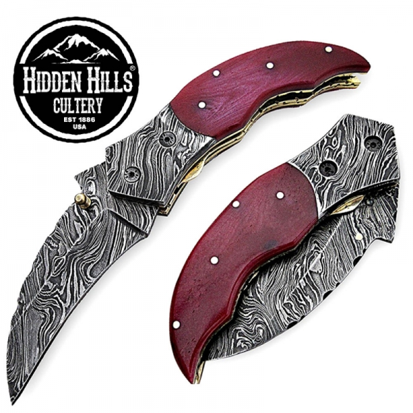 Ahanu Damascus Steel Blade Red Bone Handle Folding Knife by HHC