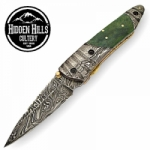 Ahiga Damascus Blade Double Bolsters Pocket Knife by HHC
