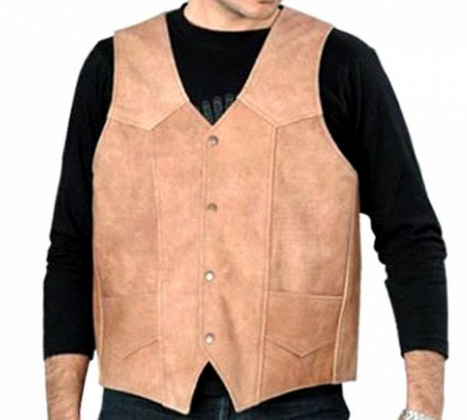 BROWN LEATHER MENS VEST by BGD