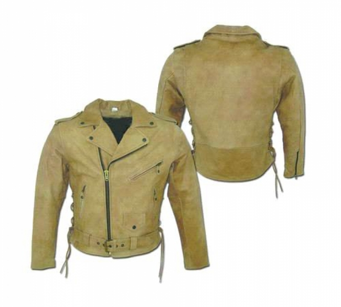 Mens Brown Biker Jacket w/ Lace by BDG