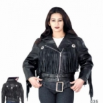 Ladies Fringe Biker Jacket with Gathered Back