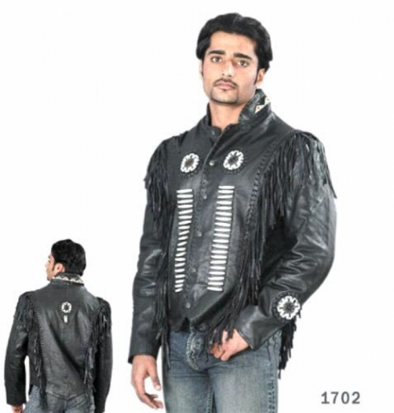 Mens Bone Beaded Arizona Biker Jacket by BGD