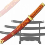 3-PC RED AND GOLD KATANA SWORD SET WITH STAND
