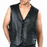 Black Men's Leather Vest by BGD