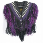 Black and Purple Leather Jacket with Fringe