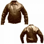 BROWN LEATHER BOMBER JACKET by BGD