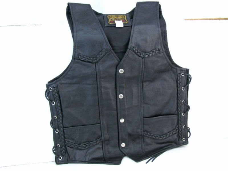 MENS BRAIDED LEATHER VEST by BGD