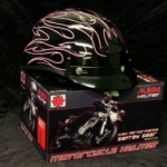 Vented-Lady Pink Flames Classic Cruiser Class DOT Helmet