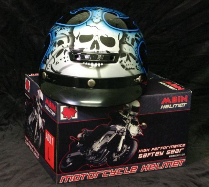 Vented-Blue Tribal Skull Classic Cruiser Class DOT Helmet